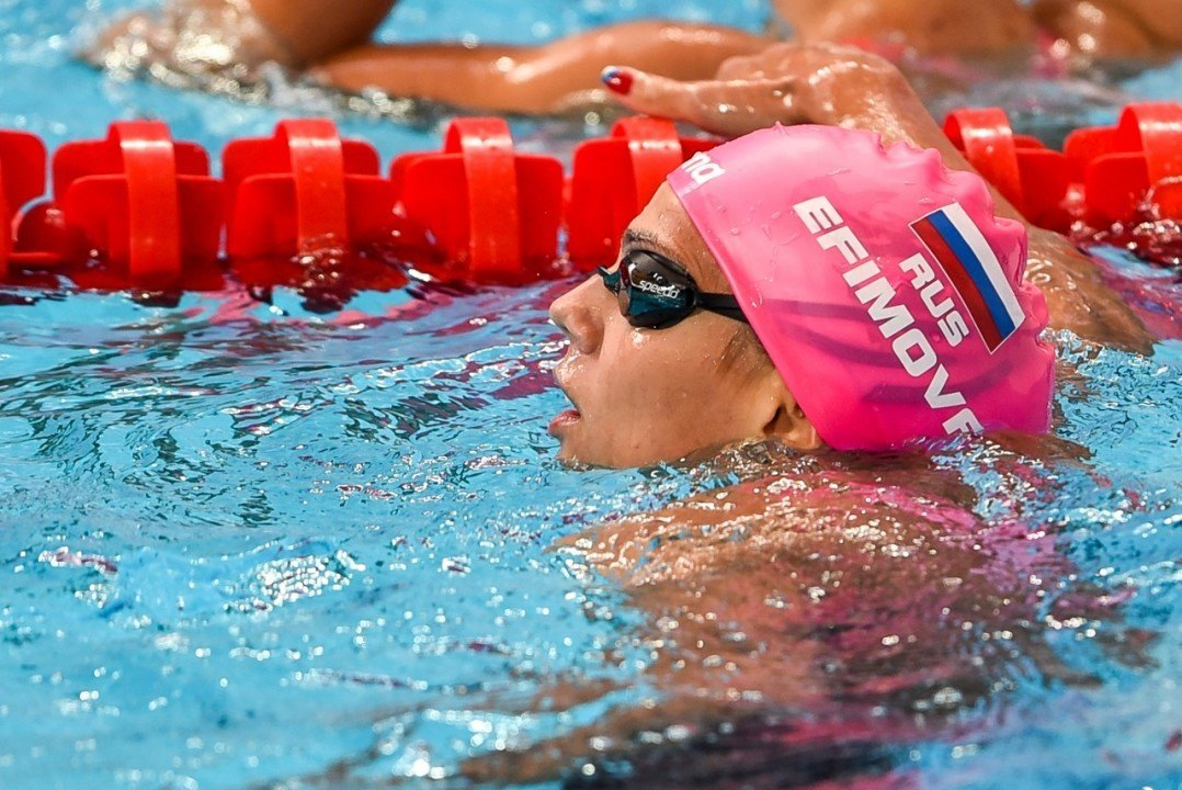 Efimova Drops 1:04.8 100 Breast, Moves Into 3rd On All-Time List
