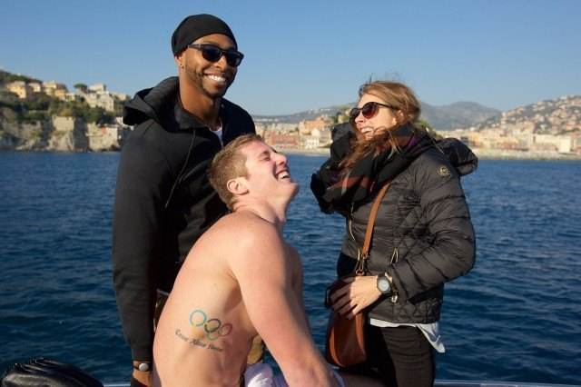 Cullen Jones, Jimmy Feigen, Katie Meili in Italy, courtesy of Rafael Domeyko, Rafael Domeyko Photography