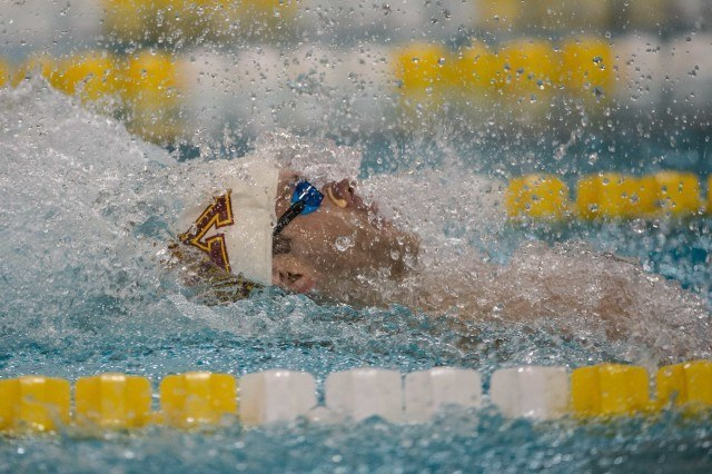 David Plummer under 53 twice in one day - takes the pool record and win in the 100 back (photo: Mike Lewis)