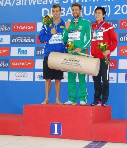 Medalists Chad Le Clos (gold), Tom Shields (silver) & Zheng Wen Quah (bronze) of 100m butterfly
