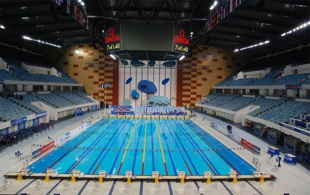 Competition pool prior to the day's sessions