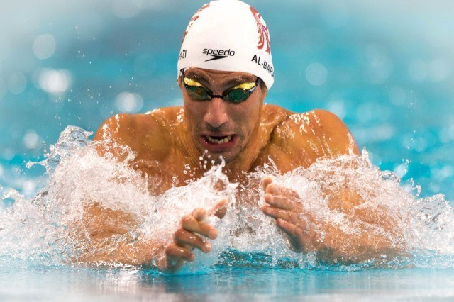 Azad Al-Barazi in the 100 breaststroke at the 2016 Austin Pro Swim Series (photo: Mike Lewis)