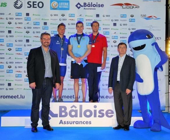 Alex Murphy GB, Andrea Tonato Italy, Hendrik Feldwehr Germany at the 2016 Euro Meet Luxembourg on Podium 50 breaststroke