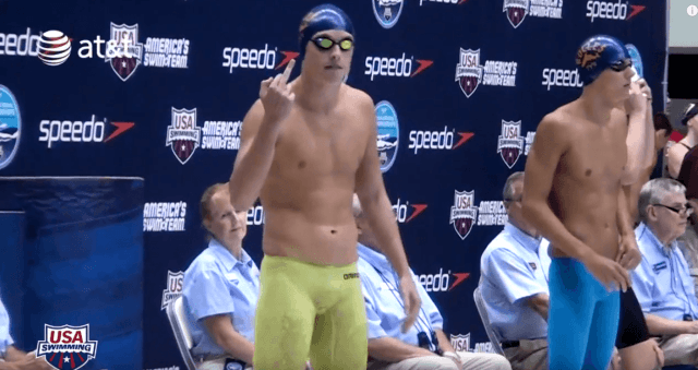 Santo Condorelli gives the finger at the 2012 Speedo Junior National Championships