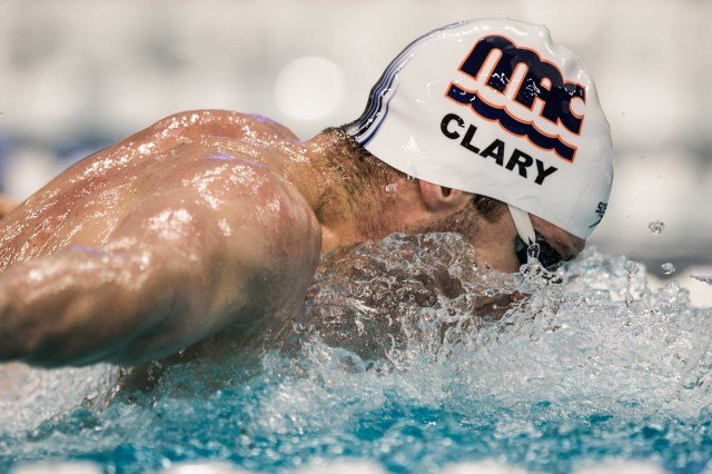 Tyler Clary in the prelims of the 200 fly (photo: Mike Lewis)