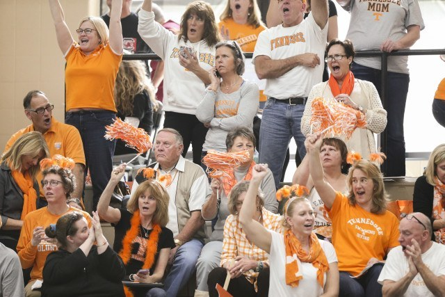 Tennessee Volunteer fans during day 1 of SEC Swimming and Diving Championships at the University of Missouri Mizzou Aquatic Center in Columbia, MO. Photo By Craig Bisacre/Tennessee Athletics