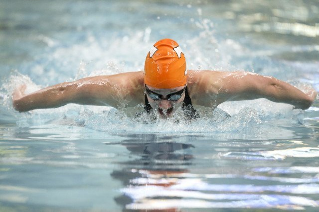 COLUMBIA, MO - FEBRUARY 18, 2016 - Madeline Banic of the Tennessee Volunteers during day 3 of SEC Swimming and Diving Championships at the University of Missouri Mizzou Aquatic Center in Columbia, MO. Photo By Craig Bisacre/Tennessee Athletics