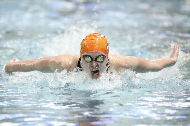 COLUMBIA, MO - FEBRUARY 18, 2016 - Harper Bruens of the Tennessee Volunteers during day 3 of SEC Swimming and Diving Championships at the University of Missouri Mizzou Aquatic Center in Columbia, MO. Photo By Craig Bisacre/Tennessee Athletics