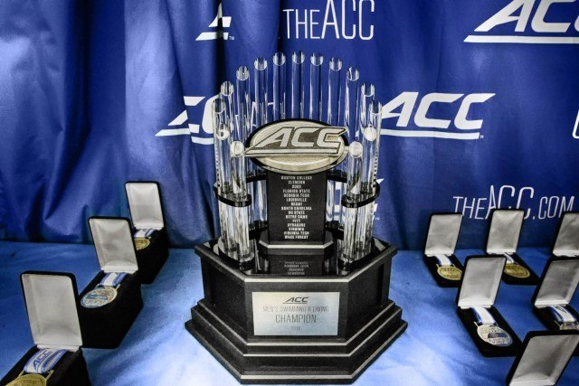 The 2016 ACC Swimming and Diving championship team trophy. (Courtesy: Tim Binning/TheSwimPictures.com)
