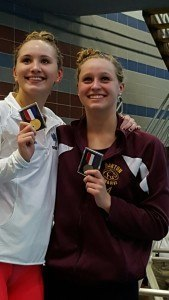 Cassidy Bayer and Megan Byrnes, who finished 1-2 in the 200 free. Courtesy: Matt Rees/SwimSwam.com