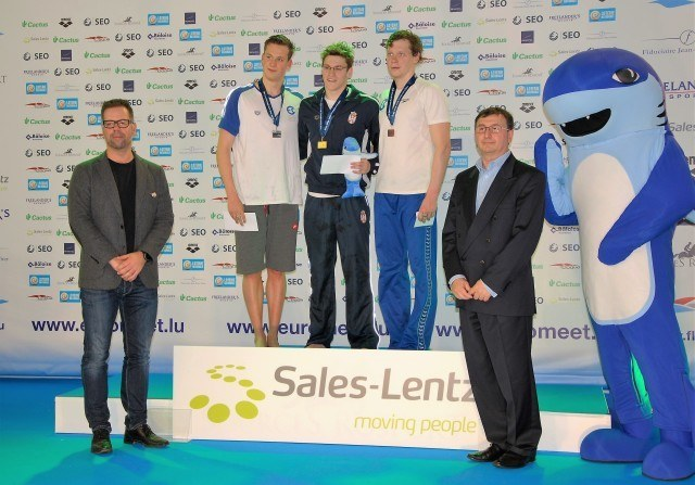 Podium 400 m Freestyle Romanchuk (left), Stjepanovic (Center), Frolov (right)