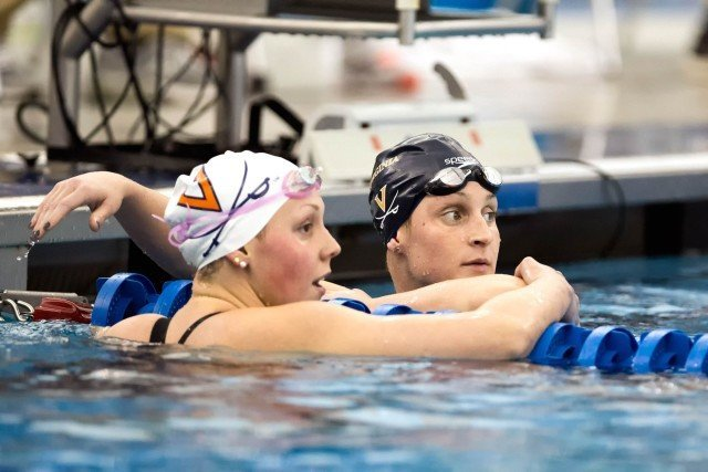 University of Virginia Junior Leah Smith breaks the ACC meet 500 free record going 4:30.74, just off her NCAA record of 4:30.37 on night two of the 2016 ACC Women's Swimming & Diving Championships held at the Greensboro Aquatic Center in Greensboro, NC from February 17 to February 20. (Photo Courtesy: Tim Binning/TheSwimPictures.com)