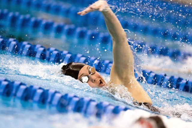 Marah Pugh of Louisville swims a 4:44.97 to win the C-Final of the 500 free on night two of the 2016 ACC Women's Swimming & Diving Championships held at the Greensboro Aquatic Center in Greensboro, NC from February 17 to February 20. (Photo Courtesy: Tim Binning/TheSwimPictures.com)