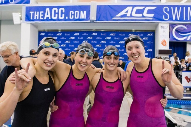 The NC State victorious 200 free relay team of Riki Bonnema, Ashlyn Koletic, Natalie Labonge, and Krista Duffield. (Photo Courtesy: Tim Binning/TheSwimPictures.com)