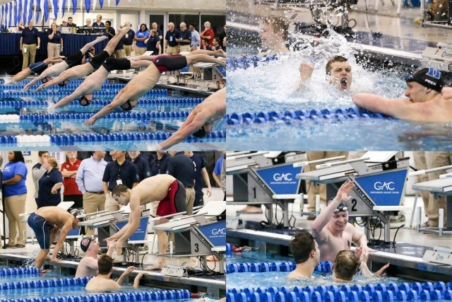 NC State dominated the 50 free championship final with four swimmers, starting in lanes 2 through 5. It was Sophomore Ryan Held who came away with the win in 18.92, teammates Simonas Bilis placed second in 18.94, Andreas Schiellerup 4th in 19.52 and Joseph Bonk 6th in 19.57. (Courtesy: Tim Binning/TheSwimPictures.com)