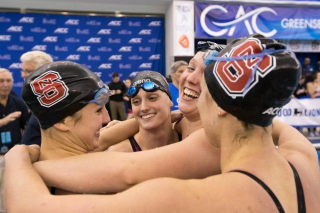 NC State team of Riki Bonnema, Ashlyn Koletic, Natalie Labonge, and Krista Duffield set a new conference and meet record in winning the 200 free relay in 1:27.50 at the 2016 ACC Women's Swimming & Diving Championships held at the Greensboro Aquatic Center in Greensboro, NC from February 17 to February 20. (Photo Courtesy: Tim Binning/TheSwimPictures.com)