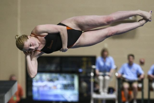 COLUMBIA, MO - FEBRUARY 18, 2016 - Rachel Rubadue of the Tennessee Volunteers during day 3 of SEC Swimming and Diving Championships at the University of Missouri Mizzou Aquatic Center in Columbia, MO. Photo By Craig Bisacre/Tennessee Athletics
