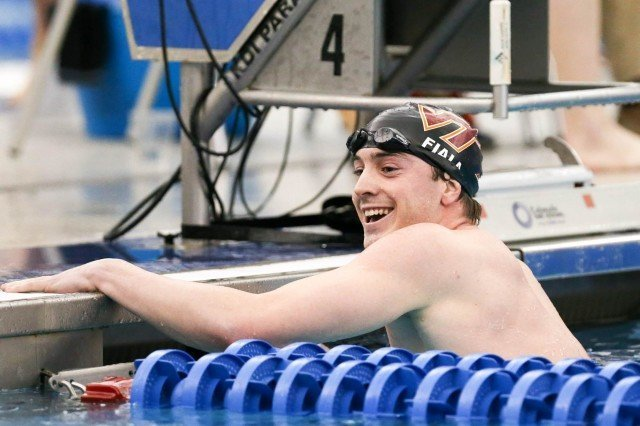 Virginia Tech Junior Brandon Fiala wins the 200 IM championship final in 1:42.26, denying NC State a clean sweep of Thursday night's swimming events. (Courtesy: Tim Binning/TheSwimPictures.com)