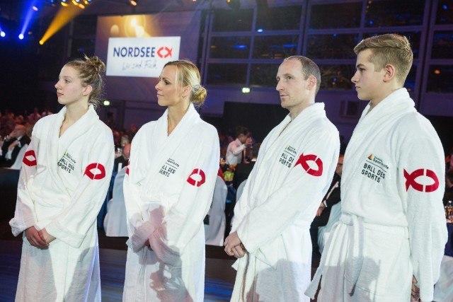 06. Februar 2016, Wiesbaden, Deutschland,Ball des Sports. In this photo: Lea Boy, Britta Kramrau, Thomas Lurz, Thore Bermel