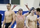 The Texas 400 medley relay post-race, Will Licon throwing up those horns. Photo Credits: Tim Binning/TheSwimPictures.com