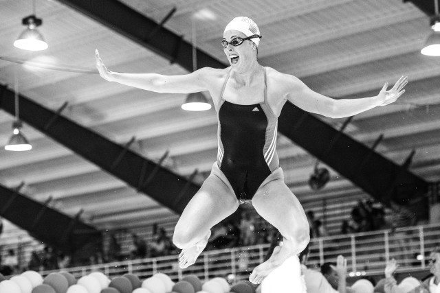 Allison Schmitt having a bit of fun in warm up at the Orlando Pro Swim Series (photo: Mike Lewis)
