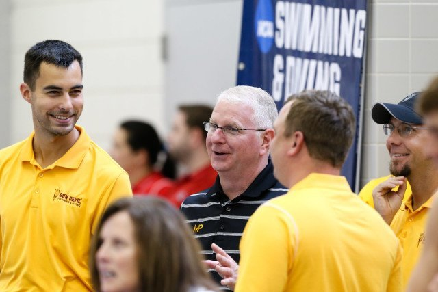 Arizona State head coach Bob Bowman and staff. Photo Credits: Tim Binning/TheSwimPictures.com
