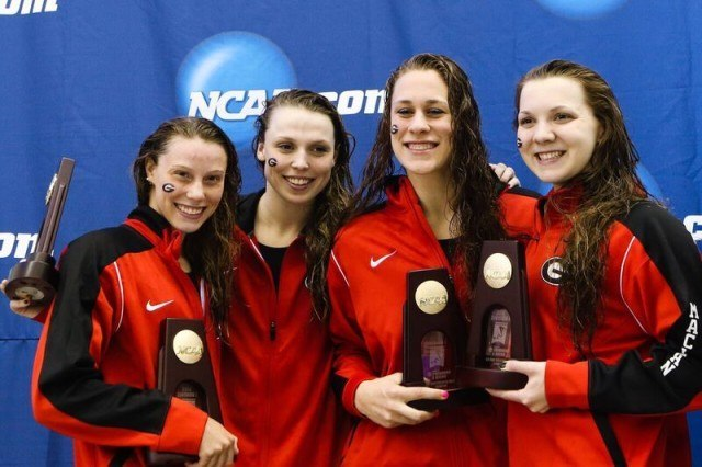 Georgia 800 free relay gold medalists at 2016 NCAA D1 Women's Championships. Photo courtesy of Tim Binning/TheSwimPictures.com