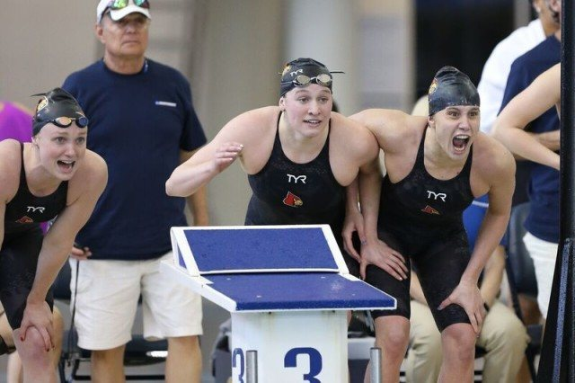 Louisville's 800 free relay at 2016 NCAA D1 Women's Championships. Photo courtesy of Tim Binning/TheSwimPictures.com