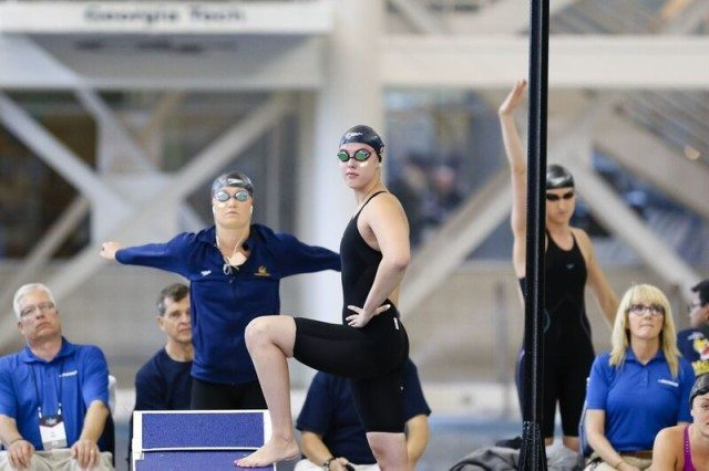 Kathleen Baker, Cal, at 2016 NCAA D1 Women's Championships. Photo courtesy of Tim Binning/TheSwimPictures.com