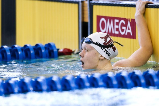 Lisa Bratton, Texas A&M's sophomore backstroker. Photo Credits: Tim Binning/TheSwimPictures.com