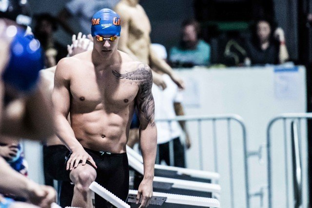 Caleb Dressel in the finals of the 50 free at the Pro Swim Series stop in Orlando (photo: Mike Lewis)