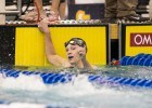 Ella Eastin throwing up a number one after a sub-4 minute 400 IM. Photo Credits: Tim Binning/TheSwimPictures.com