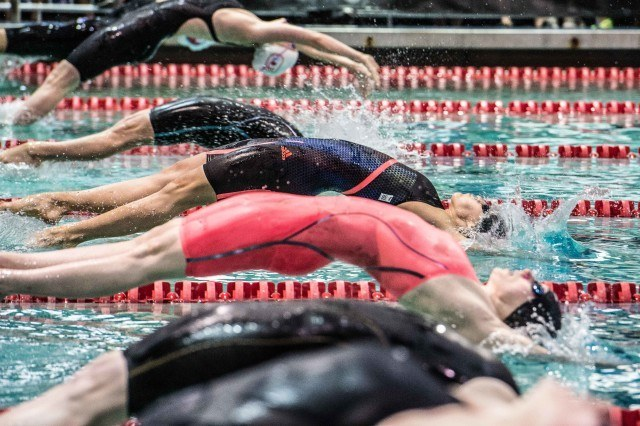 Fernanda Gonzalez in the prelims of the 200 backstroke at the Orlando Pro Swim Series (photo: Mike Lewis)