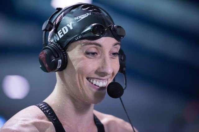 Madison Kennedy takes the win in the 50 free at the Orlando Pro Swim Series (photo: Mike Lewis)