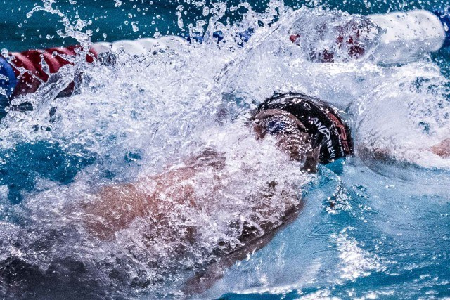 Michael Andrew 100 Backstroke at the USA Swimming Pro Swim stop in Orlando, Florida (photo: Mike Lewis)