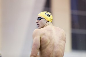 A back shot of Cal's Ryan Murphy stepping up for the 200 IM. Photo Credits: Tim Binning/TheSwimPictures.com