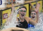 Olivia Smoliga celebrates after setting the NCAA Record in the 50 free. Photo Courtesy: Tim Binning/TheSwimPictures.com