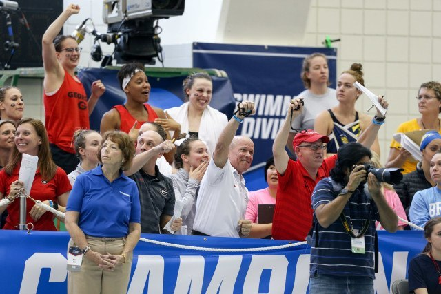 A shot of the Georgia bench cheering the Bulldogs on. Photo Credits: Tim Binning/TheSwimPictures.com