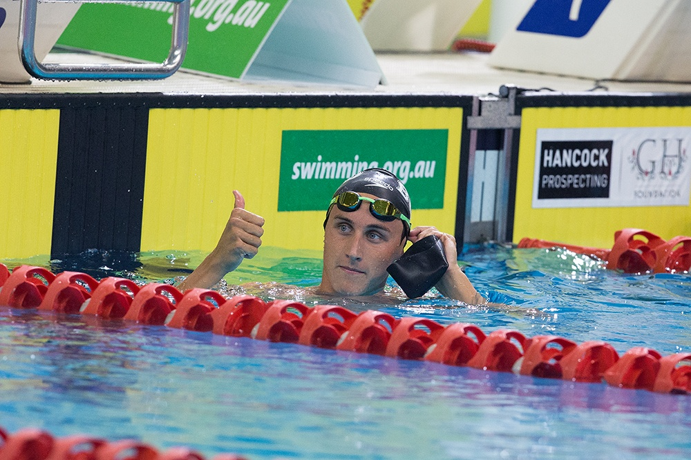 Cameron McEvoy approving of his performance in the 200 freestyle semi-final
