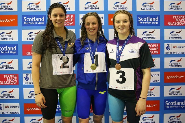 Women's 400 IM podium: Hannah Miley (gold), Aimee Willmott (silver), Abbie Wood (bronze)