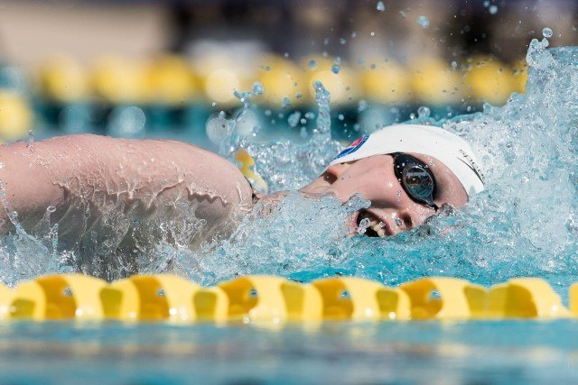 Katie Ledecky in the 400 free Mesa, Arizona (photo: Mike Lewis)