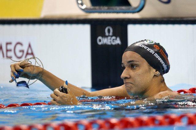 Joanna Maranhao. Trofeu Maria Lenk de Natacao, realizado no Centro Aquatico Olimpico. 17 de abril de 2016, Rio de Janeiro, RJ, Brasil. Foto: Satiro Sodré/ SSPress