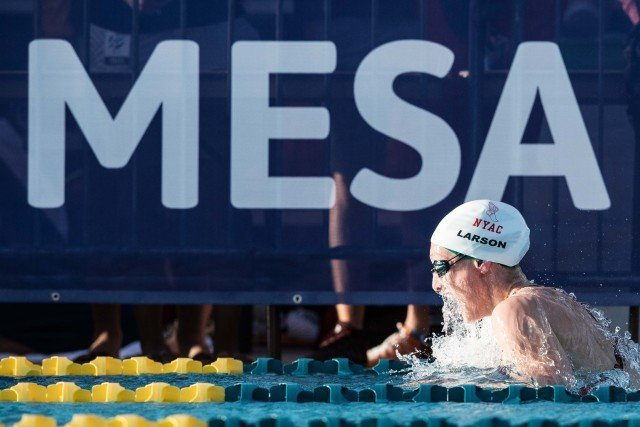 Breeja Larson with the win in the 200 breaststroke Mesa, Arizona (photo: Mike Lewis)