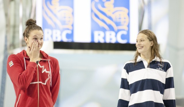 Chantal Vanlandegham (left) Penny Oleksiak (right) 2016 Swimming Canada Olympic Trials.
