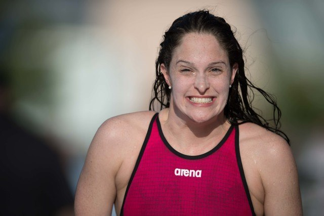 Cammile Adams psyched after her win in the 200 fly (photo: Mike Lewis)