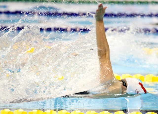 Kylie Masse at the 2016 Canadian Olympic Trials - gold 100 back Canadian record