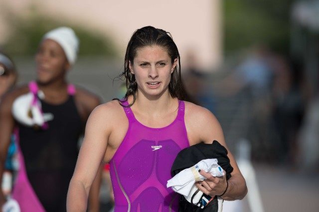 Katie Meili following the women's 100 breastroke (photo: Mike Lewis)