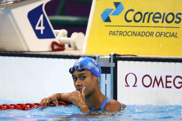Larrane Ferreira. Trofeu Maria Lenk de Natacao, realizado no Centro Aquatico Olimpico. 20 de abril de 2016, Rio de Janeiro, RJ, Brasil. Foto: Satiro Sodré/ SSPress