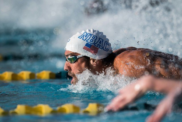 Michael Phelps in the 200 fly finals USA Swimming Pro Swim Series Mesa, Arizona (photo: Mike Lewis)