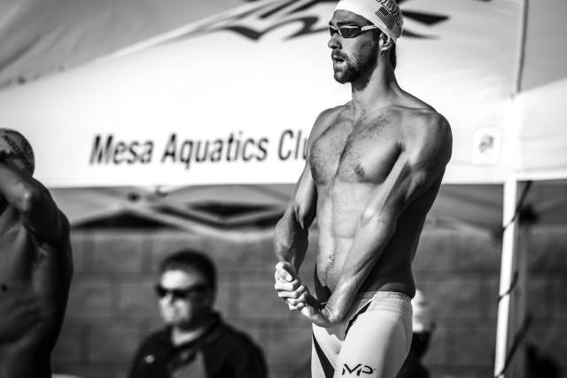 Michael Phelps in the 200 freestyle at teh Mesa Pro Swim Series stop (photo: Mike Lewis)
